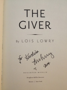 Got to meet Lois Lowry at the BEA. Yay! And she signed my book.